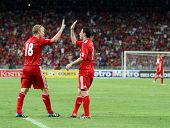 BUKIT JALIL, MALAYSIA - JULY 16: Liverpool's Dirk Kuyt (18) celebrates after scoring against Malaysia in his game at the National Stadium on July 16, 2011, Bukit Jalil, Malaysia. Liverpool won 6-3.