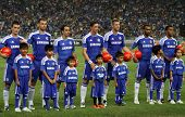 BUKIT JALIL, MALAYSIA - JULY 21: Chelsea FC players line up for the introduction announcement before the match against Malaysia in the National Stadium on July 21, 2011 in Bukit Jalil, Malaysia. (Unidentified children and team)