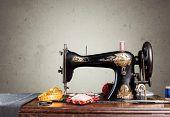 Retro Machine Sew Sewing Background Nobody Design poster