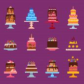 Wedding Or Birthday Pie Cakes Flat Sweets Dessert Bakery Ceremony Delicious Vector Illustration. Tas poster