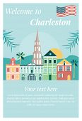 Welcome To Charleston Vintage Poster With Landmarks. poster