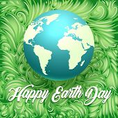 Happy Earth Day Illustration. Globe With The Words Happy Earth Day On Green Leaves Background. Vecto poster