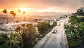 Aerial Panoramic View Of Ocean Ave Freeway In Santa Monica Beach At Sunset - City Streets Of Los Ang poster