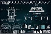 Futuristic User Interface. Car Service In The Style Of Hud. Virtual Graphical Interface Ui Hud Autos poster