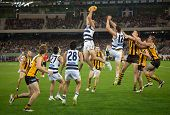 MELBOURNE - SEPTEMBER 9 :James Podsiardly takes a strong mark in Geelong's win over Hawthorn - Septe