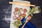 Cookies With Cannabis And Buds Of Marijuana On The Table. Concept Of Cooking With Cannabis Herb. Tre poster