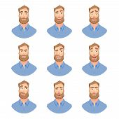 Face Of Man With Beard. Man Face Expression. Human Emotions. Set Of Cartoon Vector Illustrations. poster