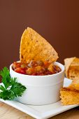 image of chipotle  - Peach Mango Salsa with chipotle Chips  - JPG