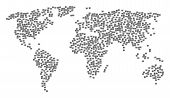 Global Geography Mosaic Map Organized Of Barcode Pictograms. Vector Barcode Scatter Flat Items Are C poster