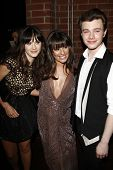 LOS ANGELES - SEP 12: Chris Colfer; Lea Michele; Emily Deschanel at the Fox Fall Eco Casino Party at The Bookbindery on September 12, 2011 in Culver City, Los Angeles, CA