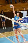 KAPOSVAR, HUNGARY - APRIL 24: Gabriella Kondor in action at the Hungarian NB I. League woman volleyb