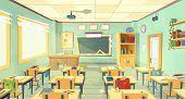 Vector School Classroom Interior. University, Educational Concept, Blackboard, Table, Chair College  poster