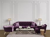 Classic Interior In Purple,pink And Goldcolors.sofa,chairs,sidetables With Lamps,table With Decor.wh poster