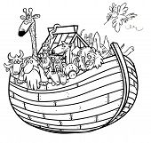Noah's Ark outline cartoon.