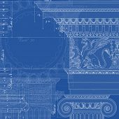 Blueprint. Hand draw sketch ionic architectural order based