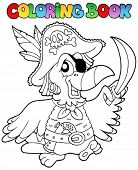 Coloring book with pirate parrot - vector illustration.