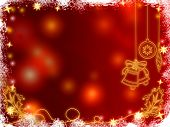 image of christmas bells  - 3d golden christmas bells snowflakes stars and cones over red background with feather center - JPG