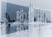 Cityscape On Blue Background
