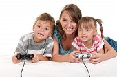 Happy family playing a video game poster