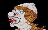 pic of annal  - A white monkey in the Thai temple - JPG