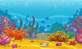 Cartoon Seamless Underwater Background. Ocean Bottom Nature. Vector Illustration. poster