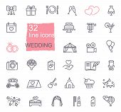 Wedding Line Icons Set. Modern Graphic Design Concepts, Simple Outline Elements Collection. Vector L poster