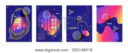poster of Flow Memphis Gradient. Graphic Hipster Cover. Dark Wave Shapes. Modern Bauhaus Illustration. Fluid M