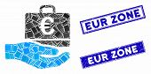 Mosaic Euro Accounting Hand Icon And Rectangle Rubber Prints. Flat Vector Euro Accounting Hand Mosai poster