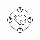 Black Line Icon For  Health-question Heart Health Questionquery poster
