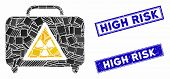 Mosaic Dangerous Luggage Icon And Rectangular Seal Stamps. Flat Vector Dangerous Luggage Mosaic Icon poster