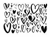 Abstract Hearts Hand Drawn Vector Illustrations Set. Various Romantic Charcoal Pencil Drawing Pack.  poster