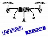 Mosaic Air Drone Icon And Rectangular Seal Stamps. Flat Vector Air Drone Mosaic Icon Of Randomized R poster