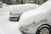 The Car, Covered With Thick Layer Of Snow. Negative Consequence Of Heavy Snowfalls. Parked Cars Cove poster