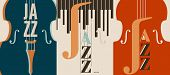 Jazz Music Festival Poster With Violoncello Flat Vector Illustration Design. Colorful Music Backgrou poster