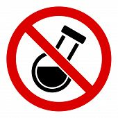 No Chemical Analysis Raster Icon. Flat No Chemical Analysis Symbol Is Isolated On A White Background poster