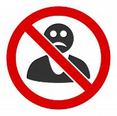 No Sad Person Raster Icon. Flat No Sad Person Symbol Is Isolated On A White Background. poster