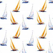 Watercolor Seamless Pattern Sailboat. Yellow And Blue Vessel Isolated On White Background. Hand Draw poster