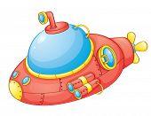 Постер, плакат: Иллюстрация красный подводной лодки EPS ВЕКТОРНЫЙ формат также доступны в моем портфолио