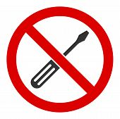 No Screwdriver Tuning Raster Icon. Flat No Screwdriver Tuning Symbol Is Isolated On A White Backgrou poster