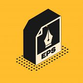 Isometric Eps File Document. Download Eps Button Icon Isolated On Yellow Background. Eps File Symbol poster