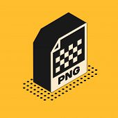Isometric Png File Document. Download Png Button Icon Isolated On Yellow Background. Png File Symbol poster