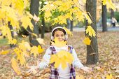 Melody Of Autumn. Small Kid Listening Modern Headphones. Headphones Technology. Falling Leaves. Happ poster