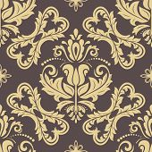 Classic Seamless Pattern. Damask Orient Brown And Golden Ornament. Classic Vintage Background. Orien poster