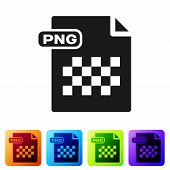Black Png File Document. Download Png Button Icon Isolated On White Background. Png File Symbol. Set poster