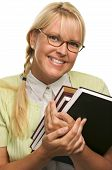 Cute Student With Braces Carrying Her Books