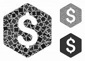 Dollar Hexagon Mosaic Of Rough Items In Variable Sizes And Color Tones, Based On Dollar Hexagon Icon poster