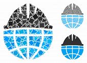 Global Helmet Mosaic Of Humpy Elements In Various Sizes And Shades, Based On Global Helmet Icon. Vec poster