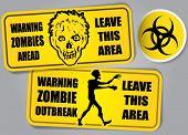 Zombie uitbraak Biohazard waarschuwing stickers / etiketten