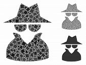 Spy Mosaic Of Irregular Items In Different Sizes And Color Tints, Based On Spy Icon. Vector Irregula poster