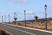 stock photo of urbanisation  - new roads for the development area in Lanzarote - JPG
